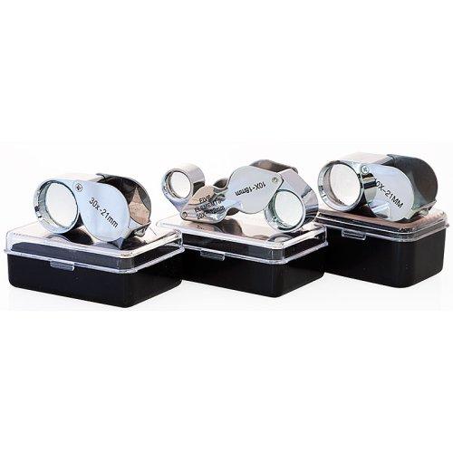 SE 3pcs Jewelers Eye Loupe 10x 30x Loupes + Dual 10X-20X