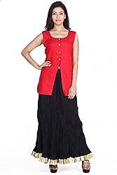 Jaipur kala kendra Women's Casual Plain Red Sleeveless Cotton Front Button Style Top Tunic JKKCTR2