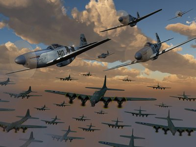 B-17 Flying Fortress Bombers and P-51 Mustangs in Flight Photographic Poster Print by Stocktrek Images, 18x24