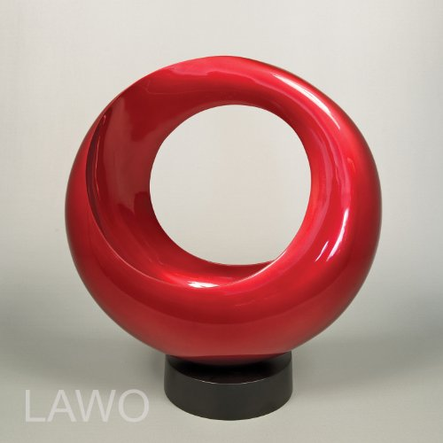 LAWO 102339 Sculpture Design in Laccato LOOP rosso Moderno Art Decorazione Oggetto Esclusivo Scultura in Legno