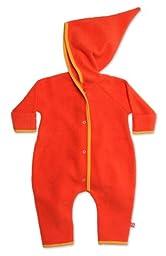 Zutano Unisex Baby Cozie Fleece Elf Romper, Mandarin, 6 Months