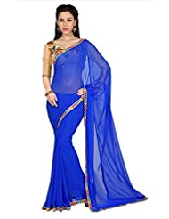 Designersareez Women Royal Blue Faux Georgette Saree With Unstitched Blouse (1613)