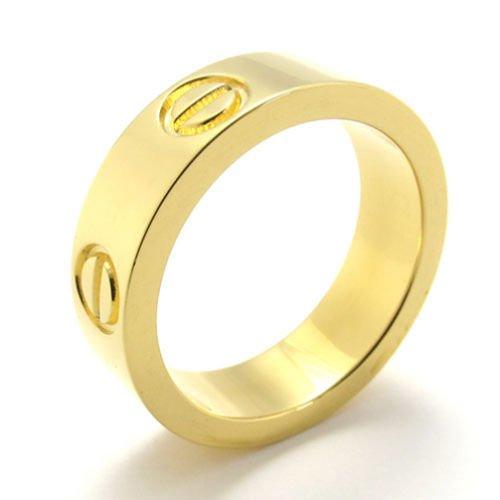 (キチシュウ)Aooazジュエリー ユニセックスステンレスリング指輪 ファッションスムーズシンプルデザイン ゴールド 高品質のアクセサリー 日本サイズ14号(USサイズ7号)