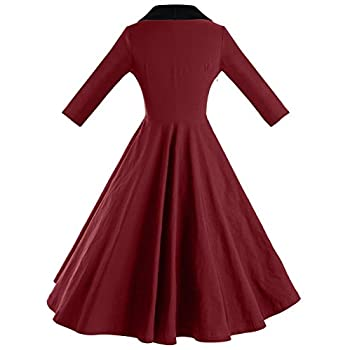 GownTown Womens Dresses cape collar 3/4 Sleeves 1950s Vintage Dresses Swing Stretchy Dresses