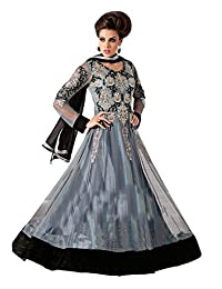 Kanchnar Women's Grey & Black Coloured Embroidered Anarkali
