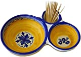 Ceramic Olive Dish from Spain. Fiesta Yellow Pattern