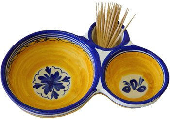 Ceramic Olive Dish From Spain Fiesta Yellow Pattern