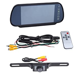 "7"" LCD Car Rear View Backup Parking Monitor With Camera (Two way video input, 480W * RGB * 234H ) by BrainyTrade"