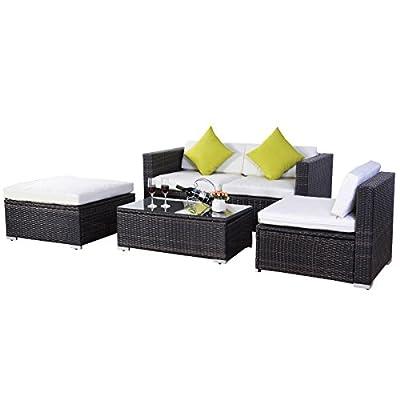 Evre Outdoor Rattan Weave Sofa Set Garden Patio Furniture Outdoor California , Brown