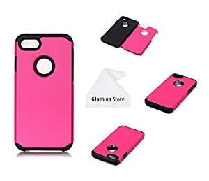 iPhone 7 Case, 2 in 1 Soft Shockproof Armor Dual Layer With PC Hard Back Cover Plastic Case Cover For Apple iPhone 7 4.7 inch With A Free Cleaning Cloth As a Gift (Hot Pink)
