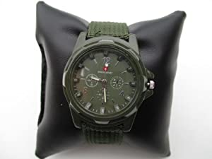 Cool Summer,green Color Military Army Pilot Fabric Strap Sports Men's Swiss Military Watch