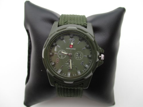 Swiss Army Men'S Green Fabric Strap Watch