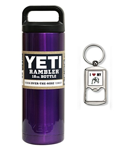 Custom Powder Coated, Yeti Coolers, New Rambler Insulated Water Bottle, 18 Oz (Purple Shimmer)