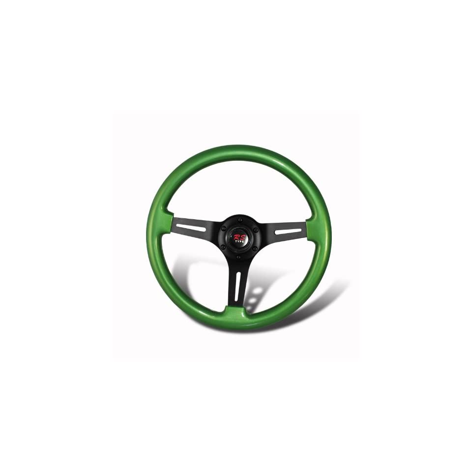 Universal 345mm 6 Hole Green Wood Grain Style Deep Dish Steering Wheel