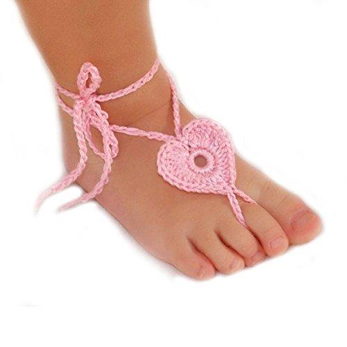 Museya neonato bambino a mano a maglia cuore a forma di sandali a piedi nudi fotografia puntelli