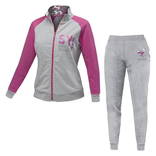 Pigiama / Tuta Homewear Donna SWEET YEARS Full Zip Cotone Felpato Art.45171 ( Grigio Melange Art.45171 - L / 46)