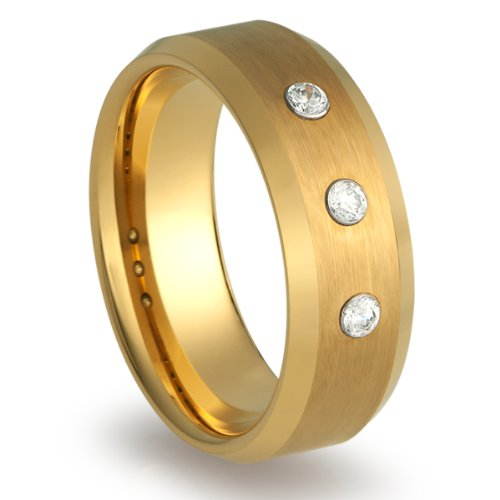 8Mm Men'S Tungsten Carbide Ring Wedding Band Gold Plated Three Stone Cz Cubic Zirconia Simulated Diamonds [Size 8]