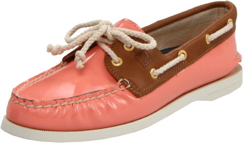 Sperry Top-Sider Womens Authentic Original 2-Eye,Coral Patent-Cognac,6 B(M) US