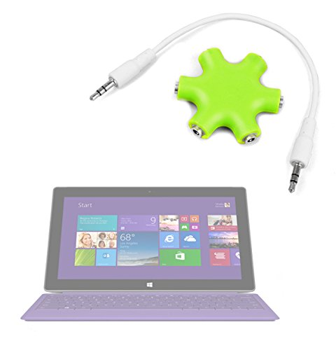 "Duragadget Lime Green 5-Way Headphone Splitter ""Star"" For Microsoft Surface Pro 2"