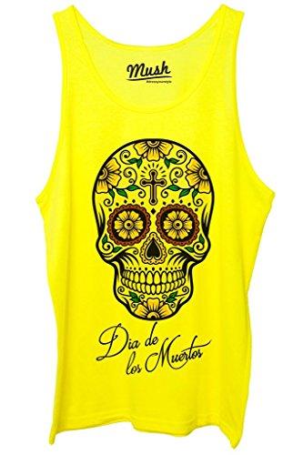 Canotta DIA DE LOS MUERTOS SKULL - FAMOSI by MUSH Dress Your Style - Uomo-L Giallo Fluo