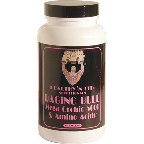 Healthy 'n Fit Raging Bull, Mega Orchic 5000 & Amino Acids,60 Tablets,  (Pack of 2)