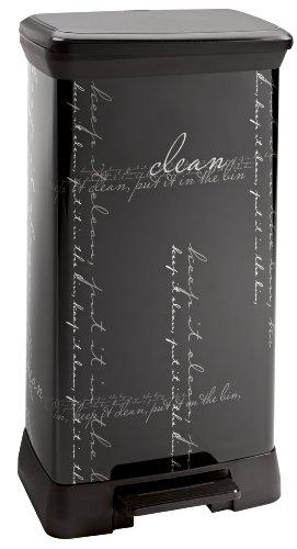 210974 Calligraphie Pedal-Abfalleimer, rechteckig, Polypropylen/Metall, 39x29x72cm, Schwarz