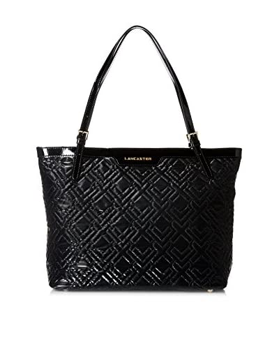 LANCASTER PARIS Women's Quilted Matelasse Nylon with Patent Leather Trim Tote, Noir As You See