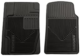 Husky Liners 51111 Semi-Custom Fit Heavy Duty Rubber Front Floor Mat - Pack of 2, Black
