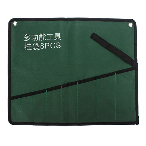 (8004-i) 8PCS POCKET CANVAS TOOL ROLL POCKET SPANNER WRENCH STORAGE