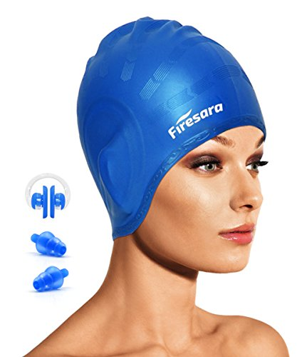 Swimming Cap for Long Hair,Ashiny Waterproof Silicone Swim Cap Dreadlocks Women & Ladies & Men & Adult That Keeps Hair Dry & Doesn't Leak with Nose Clip and Ear Plugs (Blue) (Swim Long Hair Nose Clip compare prices)