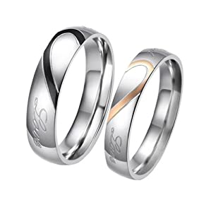 """JewelryWe Lover's Heart Shape Stainless Steel Promise Ring """"Real Love"""" Mens Engagement Wedding Band, Black & Silver Tone (Size 4-16) Size 4"""