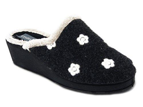 Cinzia Soft ciabatta donna in caldo tessuto invernale colore nero, zeppa 4cm e suola in gomma antiscivolo, 6012 i16