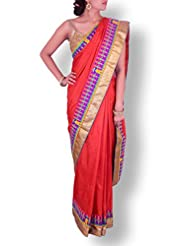 Vermillion Red Silk Saree With Kutch Embroidery Work On Border