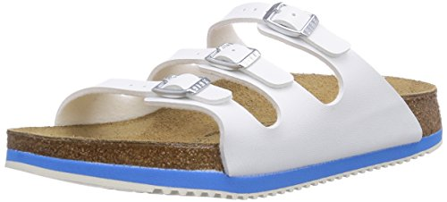 Birkenstock Professional FLORIDA, Damen Pantoletten, Weiß (WHITE LS WHITE/BLUE), 42 EU