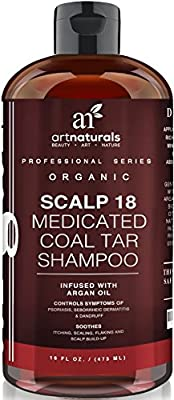 Art Naturals Scalp18 Coal Tar Therapeutic Anti Dandruff Shampoo 16 oz - Helps clear symptoms of Psoriasis, Eczema, Itchy Scalp & Dandruff - Made in USA with Natural & Organic Ingredients