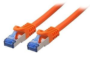 BIGtec 1m CAT.7 Ethernet LAN Patchkabel Gigabit Netzwerkkabel Patch Kabel orange Kupferkabel (RJ45, Cat 7, S/FTP PIMF, 1000 Mbit/s) 2 x RJ45 Stecker ideal für Switch , DSL Verbindungen , Patchfelder , Patchpanel , Router , Modem , Access Point und andere Geräte mit RJ45 Anschluß ,CAT Kabel KAT Kabel CAT7 CAT 7