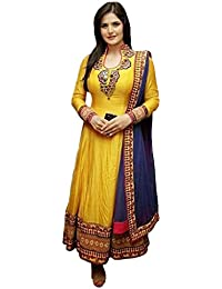 Sanjana Design Women's Cotton Semi Stitched Anarkali Dress Material ( KS7074_Free Size_Yellow)