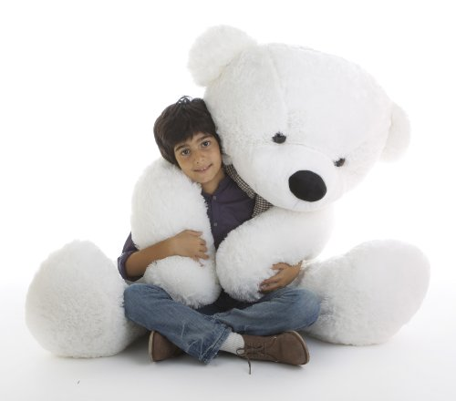 5 Foot Life Size Teddy Bear White Color Feather Soft Huge Plush Stuffed Animal Coco Cuddles