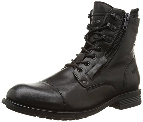 Bunker Domin Mido Black Mens Leather Army Boots Shoes-9