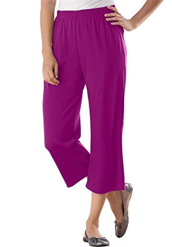 Women's Plus Size 7-Day Knit Capris Berry Pink,1X