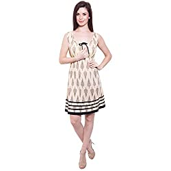 TUNTUK Women's Beatrig Dress Beige Cotton Dress