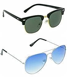 Redix New combo 2 in 1 Avaitor light blue and Golden sunglasses for mens and womens(BLU-75-GL)