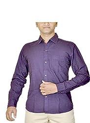 Routeen Men's Purple Slim Fit Shirt (SMRCTNLCD101S6_XL)