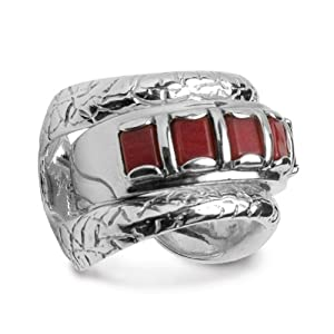 Fritz Casuse Sterling Silver Red Coral Ring and Guard by Native American Designers
