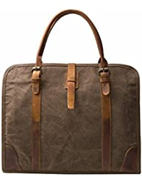 "ECOSUSI High Density Canvas Real Leather Business Messenger Briefcase Laptop Bag Fit 15.6"" Laptop"