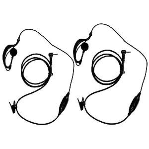 abcGOODefg® G Shape Clip-Ear Headset/Earpiece Mic for Motorola Talkabout 2 Two Way Radio Walkie Talkie 1-pin 100-0 (Pack of 2)