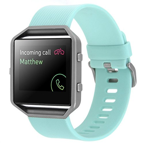 Fitbit Blaze Silicone Band,Classic, Turquoise, Large, Henoda High Quality Silicone Bands Bracelet...