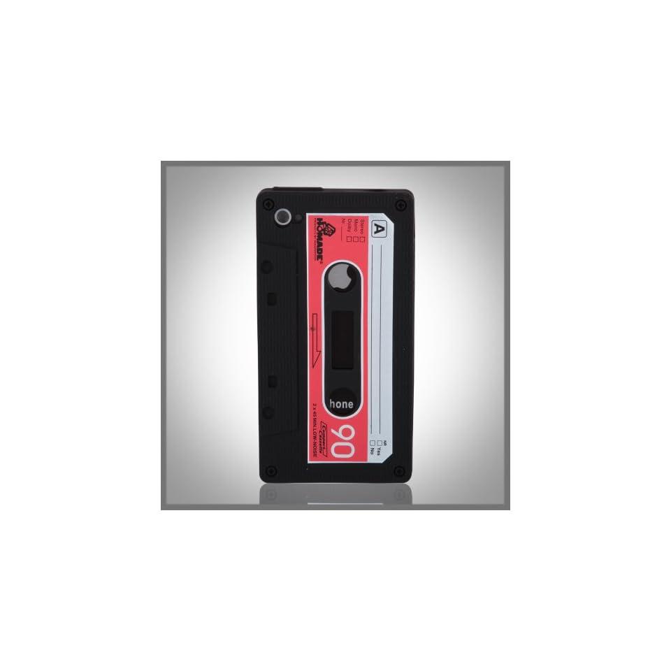 Tape Cassette Retro Black Flexa silicone case cover for Apple iPhone 4 4G 4S
