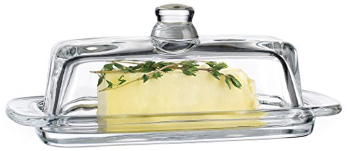 Beautiful 7.5 Inch Crystal Clear Glass Butter Dish with Plate and Lid ~ Covered Stick Butter Keeper ~ Cream Cheese Dish (Cheese Dish Glass compare prices)