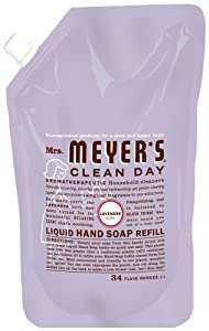 Mrs. Meyer's Clean Day Liquid Hand Soap Refills, Lavender 1 liter (34 fl.oz.) (Pack of 6)